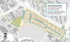 På dessa blåmarkerade gator blir det parkeringsavgift från och med 1 juni.